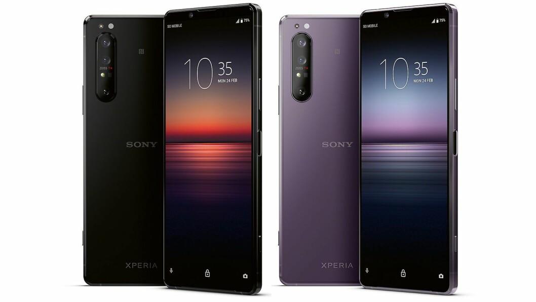 Nye Xperia 1 II kommer i sort eller lilla når telefonen treffer det norske markedet i juni. Foto: Sony.