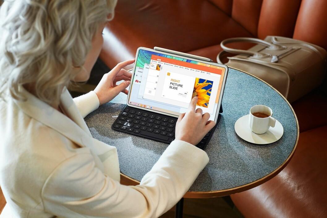 Med det magnetiske tastaturet fungerer MatePad også som en bærbar PC. Foto: Huawei.
