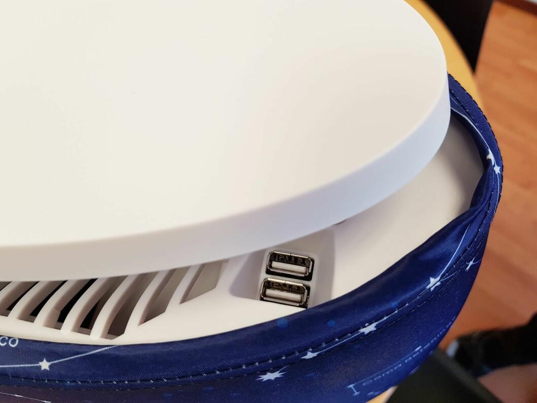 Luftrenseren Lendou fra Air & Me (3.000,-) er utstyrt med to USB-kontakter for lading. En ladetopp kan kjøpes som tilleggsutstyr, og koster 400 kroner. Foto: Jan Røsholm.