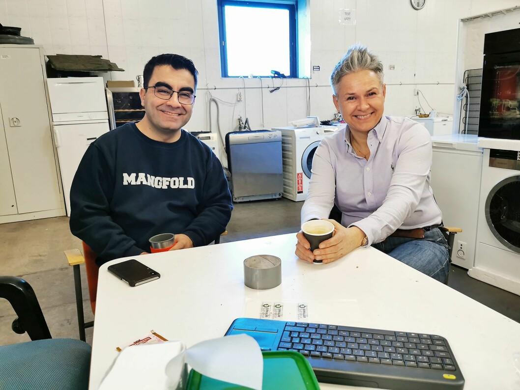 Jawad Azadmehr i Sirkular Gjenbruk samarbeider tett med Guro Kjørsvik Husby i Norsirk. Foto: Stian Sønsteng.