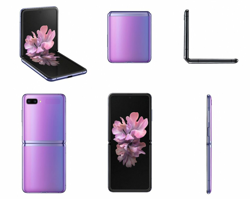 Slik ser Samsung Galaxy Z Flip ut i ulike konfigurasjoner. Foto: Samsung.