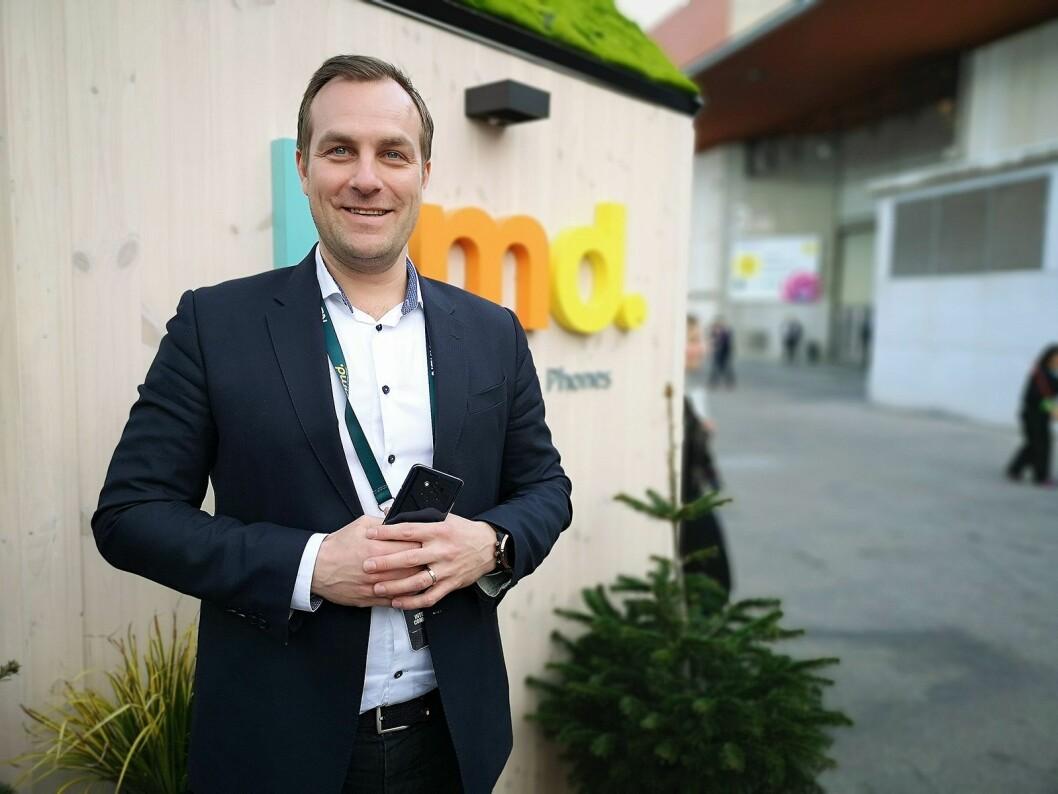Norden-sjef i HMD Global, Ossi Korpela, skal inn i roaming-markedet. Bildet er tatt på mobilmessen i Barcelona i 2019. Foto: Marte Ottemo.