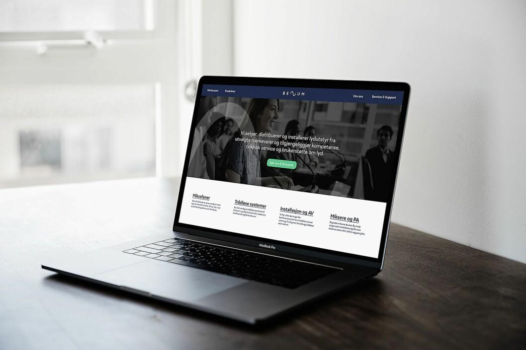 Ny visuell profil som eksempel på ny nettside. Illustrasjon: Benum.