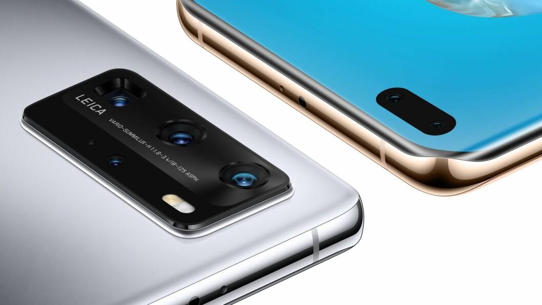 Huawei P40 Pro har fire kamera på baksiden, mens tre tre modellene i serien alle har to kamera i front for 4K-video og med 30MP. Foto: Huawei.