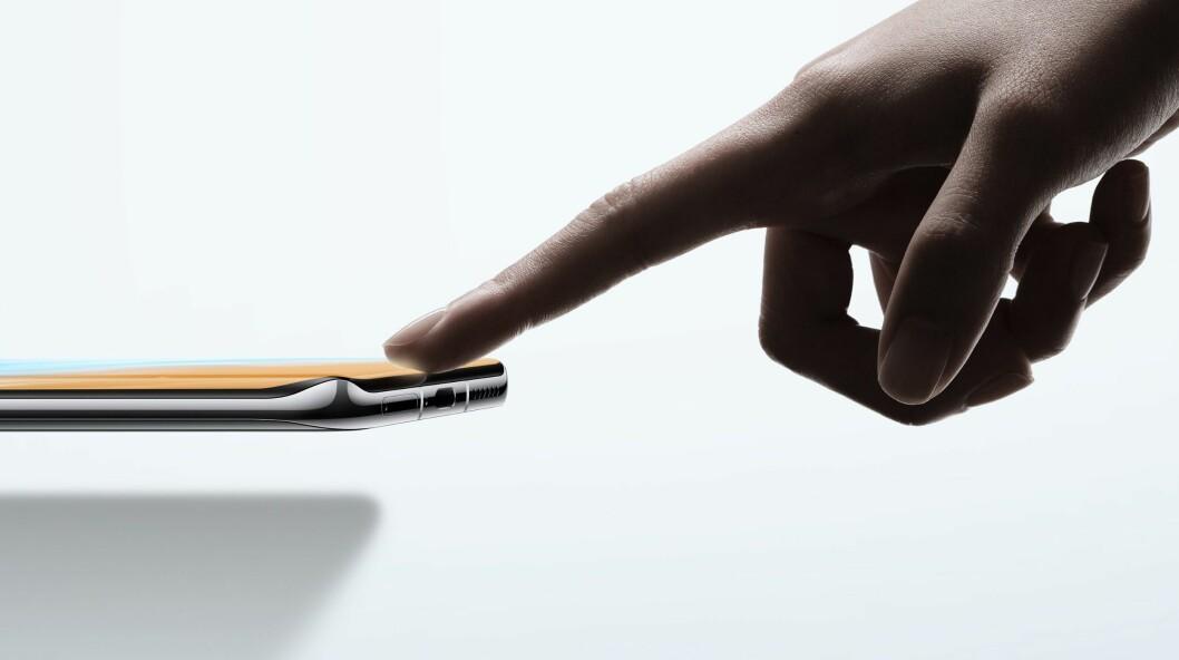 Skjermen på Huawei P40-serien er kurvet ikke bare på sidene, men også i topp og bunn. Foto: Huawei.
