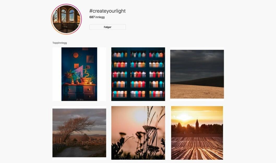 Nikon oppfordrer publikum til å dele bilder på Instagram med emneknaggen #createyourlight. Skjermdump