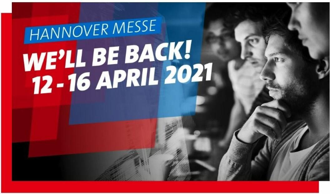 Slik markedsfører Hannover Messe 2021 sine nye datoer. Skjermdump.