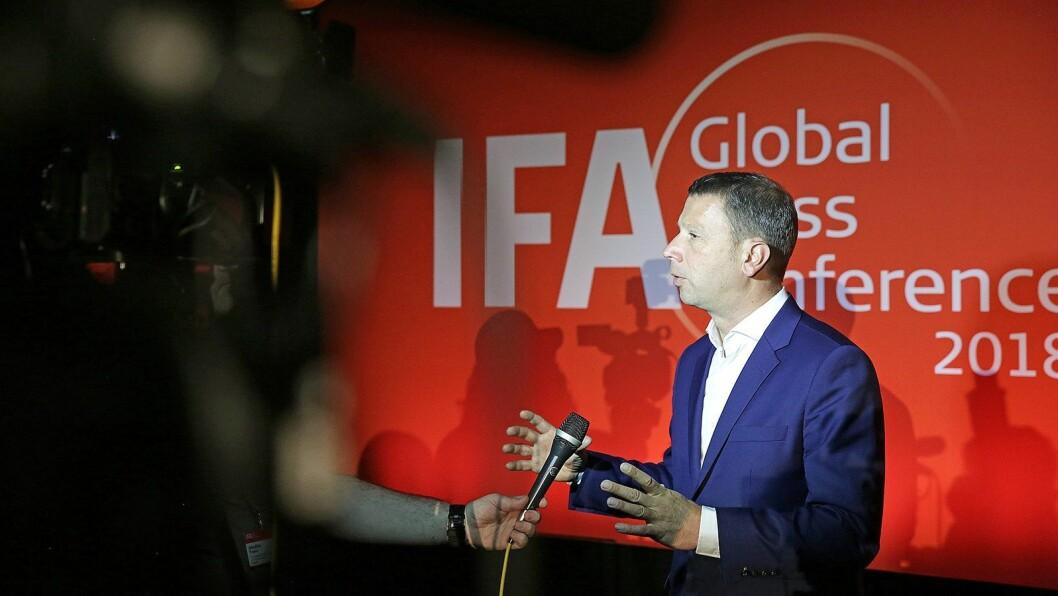 Jens Heithecker, visepresident i Messe Berlin Group og IFA-direktør fra IFAs globale pressekonferanse 2018. Arkivfoto: IFA.