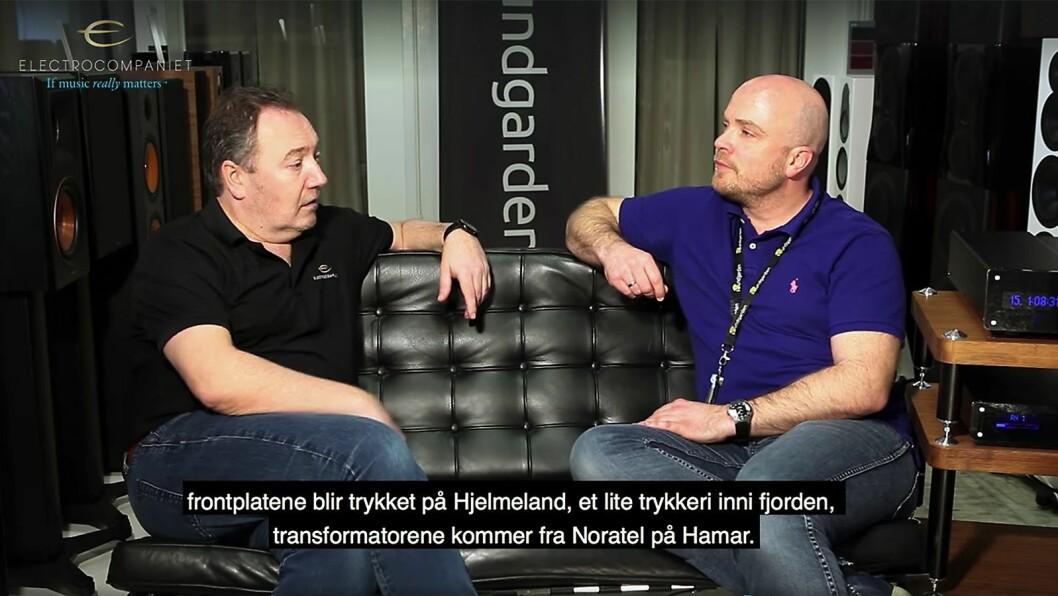 I en video intervjuer Odd Kåre Lerbrekk (t. h.) ved Soundgarden Forus salgs- og markedssjef Lasse Danielsen i Electrocompaniet. Skjermdump.