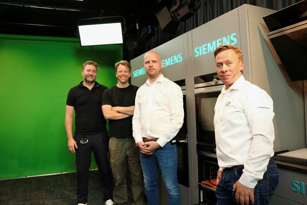 Opplæringssjef i Power, Morten Hovland (f. v.) og programleder Rasmus Wold stiller opp i studio sammen med nasjonal salgssjef Morten Kristensen og salgssjef for kjøkken, Espen Vik, i BSH. Foto: Power/ Snorre Berg-Domaas