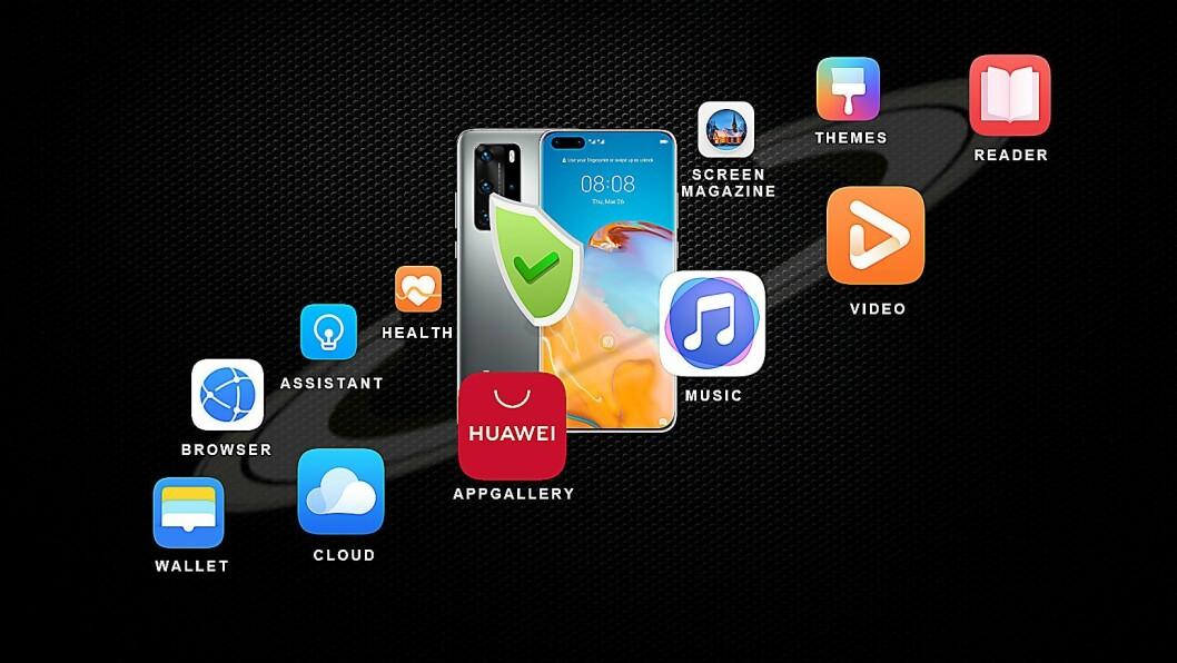 Huawei er utestengt fra Googles app-butikk, og jobber nå hardt med å få på plass viktige apper i sitt eget AppGallery. Foto: Huawei