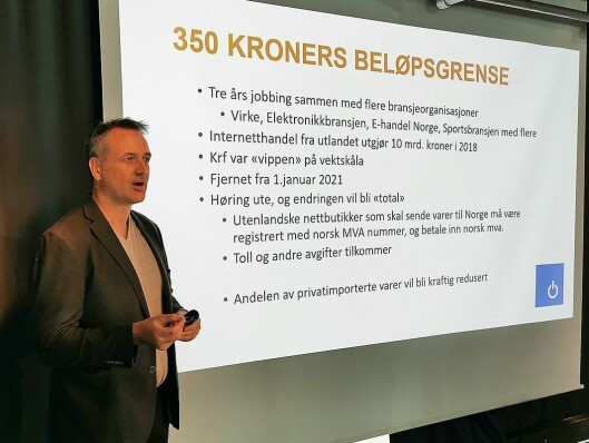 Administrerende direktør Jan Røsholm i Stiftelsen Elektronikkbransjen, som er sekretariat for Norsk musikkbransjeråd. Her på fjorårets musikkbransjedag. Foto: Stian Sønsteng.