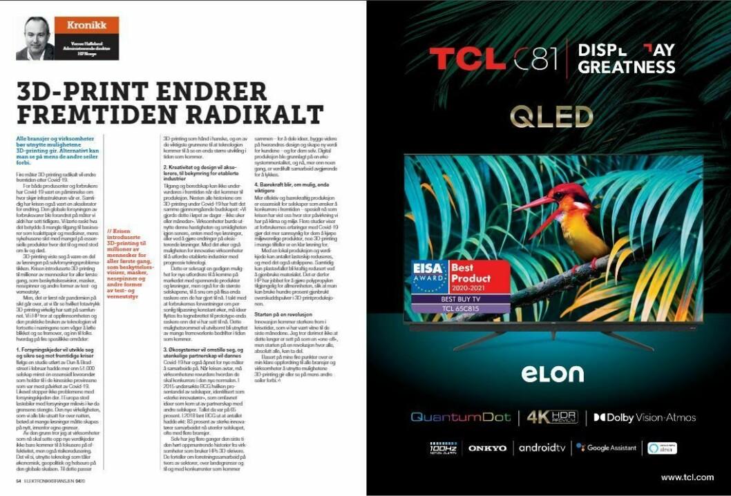 """Artikkelen ble første gang publisert i papirutgaven av fagbladet Elektronikkbransjen nr. 4/2020, som ble distribuert 31. august. <a href=""""https://www.mypaper.se/html5/customer/248/12936/?page=54"""" target=""""_blank"""" rel=""""noopener"""">Her kan du lese artikkelen</a> og bla gjennom digitalutgaven av bladet. Du kan lese alle utgaver av bladet digitalt, fra og med nr. 1/1937, på <a href=""""https://www.elektronikkbransjen.no/historiskarkiv"""" target=""""_blank"""" rel=""""noopener"""">elektronikkbransjen.no/historiskarkiv</a>."""