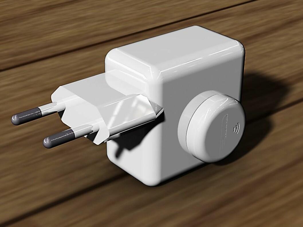 SafeTemp-sensoren kan festes til ulike typer produkter som ønskes overvåket, her en mobillader. Foto: SafeTemp.