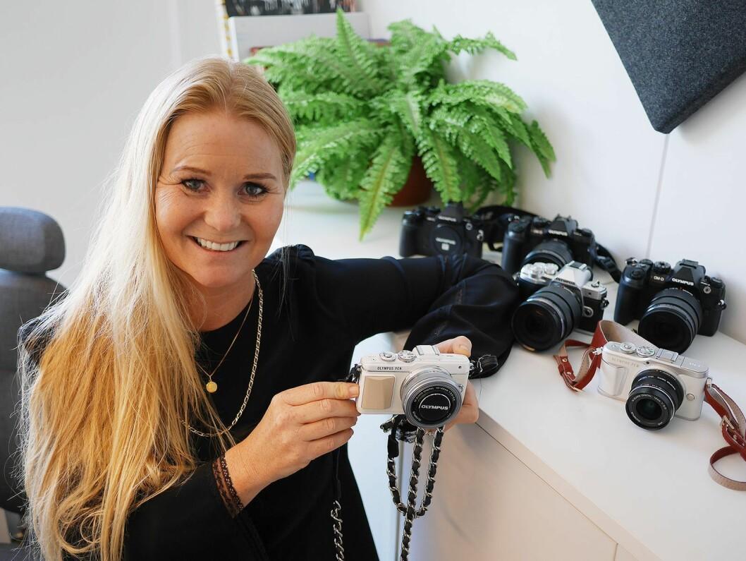 Salgssjef i Olympus Norge, Annika Johansen .Her fotografert ved en tidligere Olympus-lansering. Foto: Stian Sønsteng.