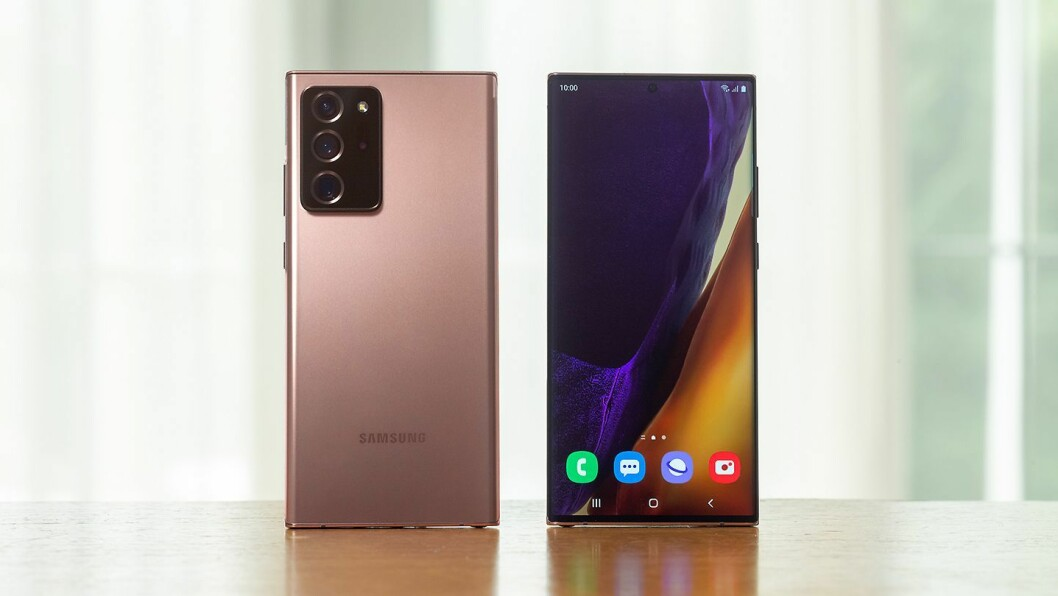 Samsung Galaxy Note 20 Ultra er toppmodellen i Samsungs nylansering, og har fått et oppdatert og forbedret kamera fra S20-modellen. Foto: Samsung.