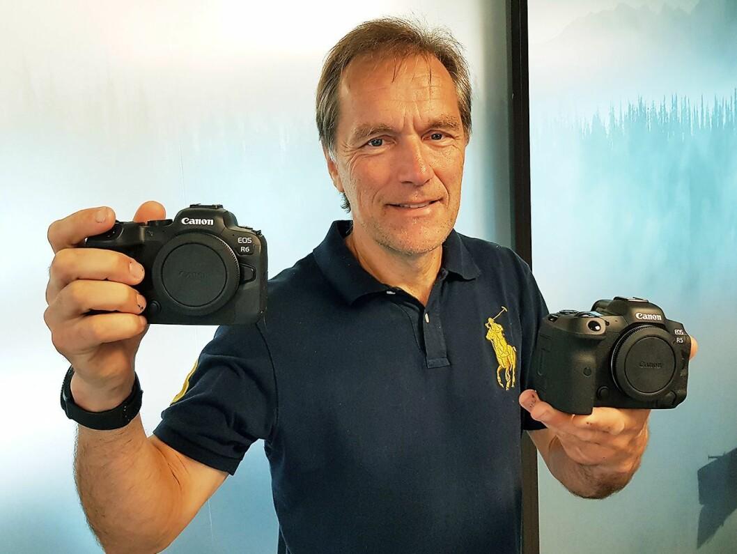 Produktspesialist Trond Sliper i Canon med EOS R6 og R5. Foto: Jan Røsholm.