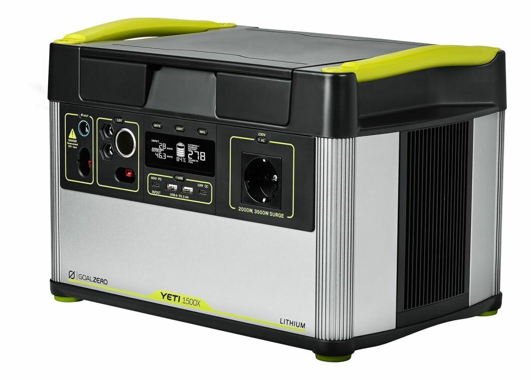 Goal Zero Yeti 1500X her et litium-batteri på 140,3Ah/1516Wh, og veier 20 kilo. Pris: 25.000,-.