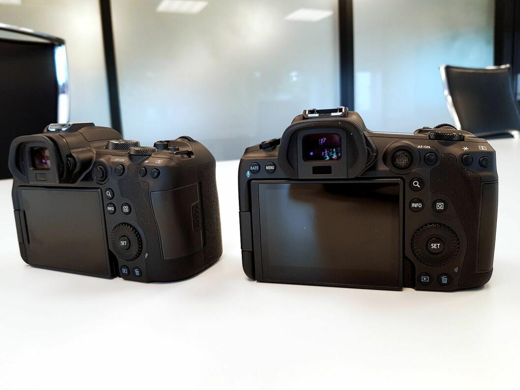 Kameraene er utstyrt med stor vridbar skjerm på baksiden. Foto: Jan Røsholm.
