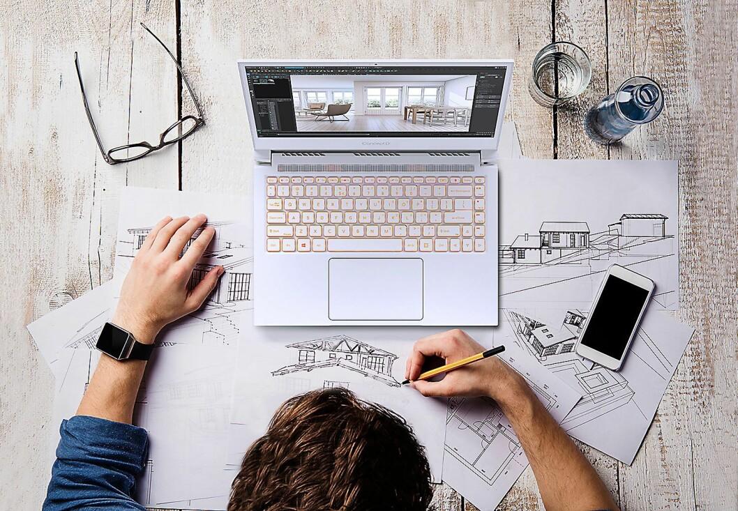 Bærbar-modellene i Acers ConceptD-serie har både kraftige spesifikasjoner og et annerledes design. Foto: Acer.