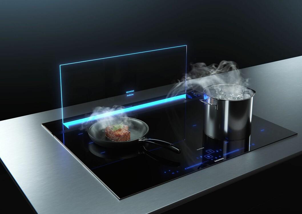 Ventilasjonssystemet GlassdraftAir er utviklet for kjøkken med åpne planløsninger, og satser på et minimalistisk design. Foto: BSH.