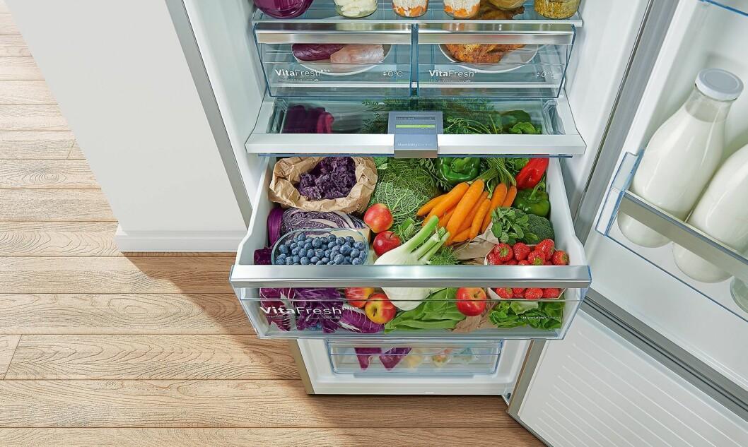 I de nye kjøleskapene fra Bosch skal det være god plass til både grønnsaker og kjøtt. Foto: BSH.