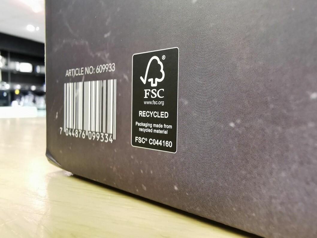Wilfa har fått FSC-godkjenning på sine første emballasjer, som betyr at det er brukt resirkulert materiale. Foto: Stian Sønsteng.Vil utfordre bransjen