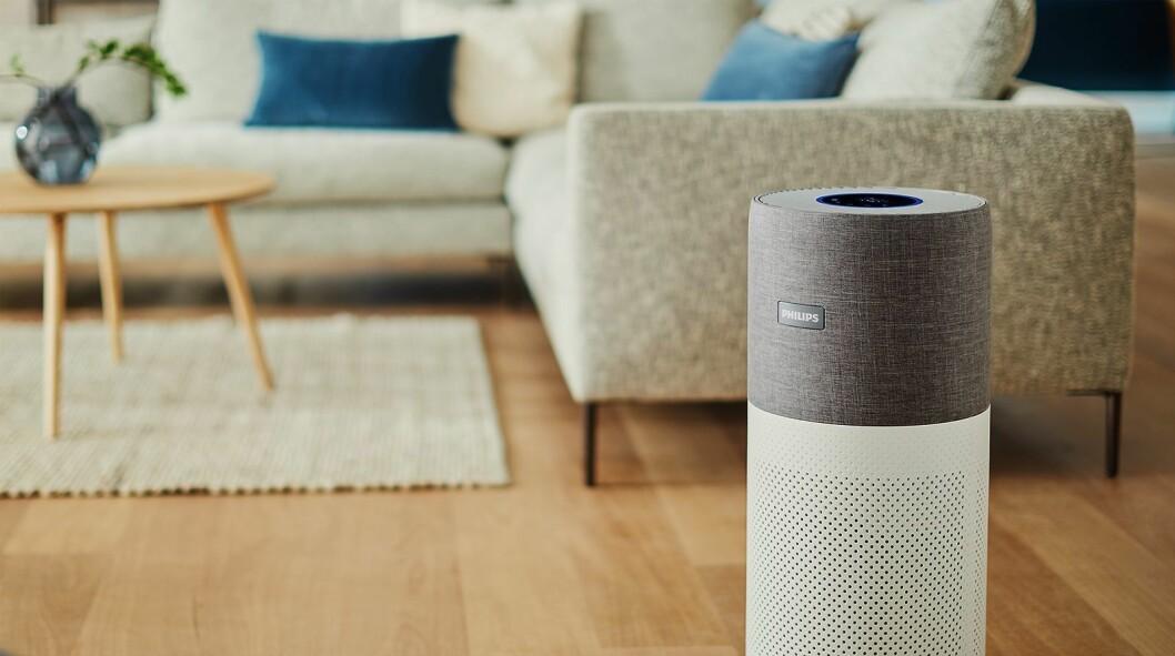 Philips' luftrensere viser luftkvaliteten med en lysring på maskinen eller i en app. Her 3000i-serien, som dekker 104 kvadratmeter og koster 6.000 kroner. Foto: Philips.