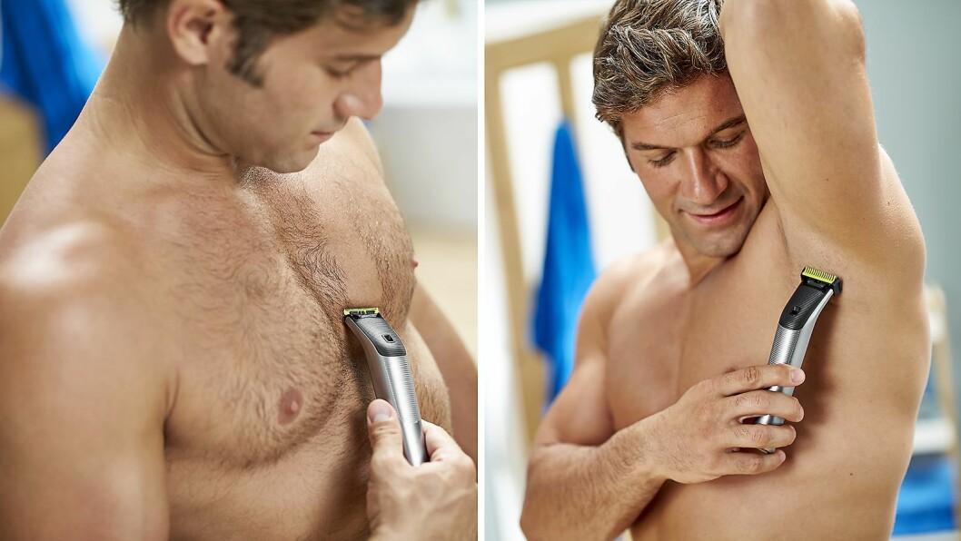 Philips OneBlade Face & Body Pro har fått en medfølgende kam som klikkes på slik at man ikke skjærer seg når man barberer seg på kroppen, samt en kam for lengre hårlengder og skjegg. Pris: 1.400,- Foto: Philips.