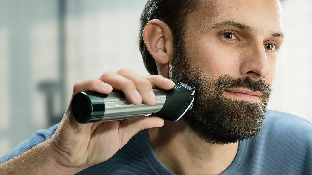 Skjeggtrimmeren Philips BT9000 Prestige har stålkammene og skjegglengden kan justeres fra 0,4 til 12,4 mm, med trinnvise steg på 0,2 mm. Pris: 1.900,- Foto: Philips.