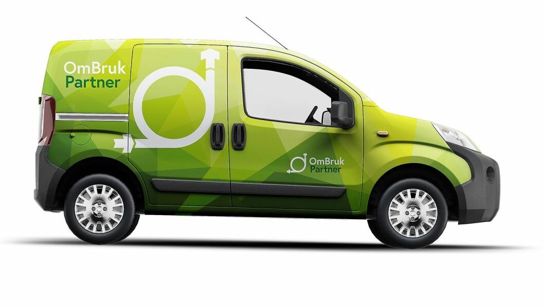 Den rykende ferske ombruks-logoen, utviklet i regi av Stiftelsen Elektronikkbransjen, kan brukes i flere varianter, som her på en servicebil. Illustrasjon: Sterk Kommunikasjon