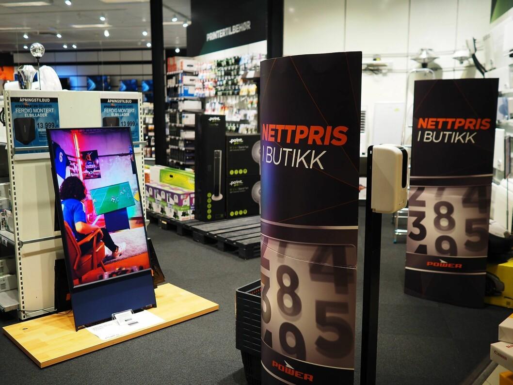 Det første som møter kundene som kommer inn i Power Seljord fra kjøpesenteret, er Samsung The Sero. Foto: Stian Sønsteng.
