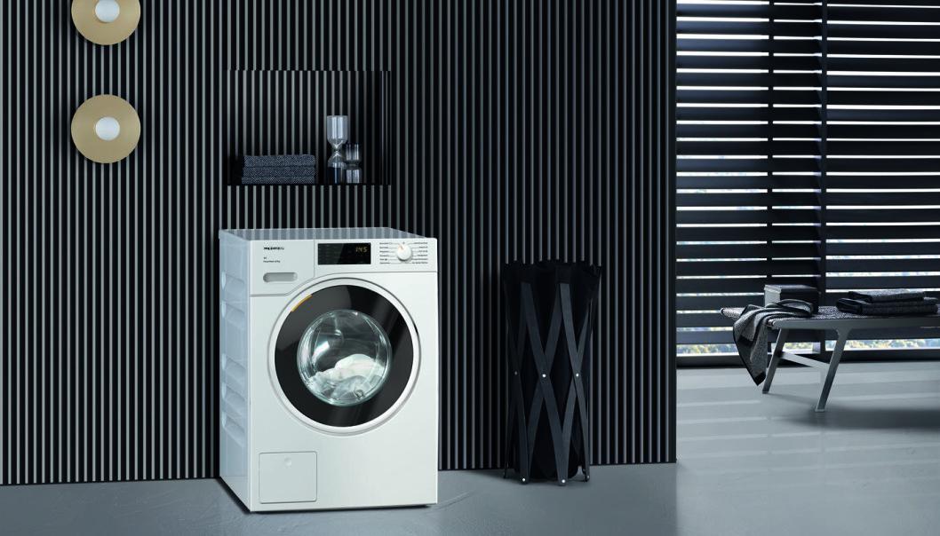 Hygiene har vært viktig i 2020, og salget av både vaskemaskiner og tørketromler har økt. Foto: Miele