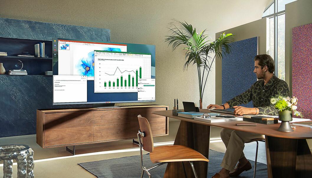 Samsungs nye Neo Qled-TVer vil også nå hjemmekontorbrukerne. Foto: Samsung