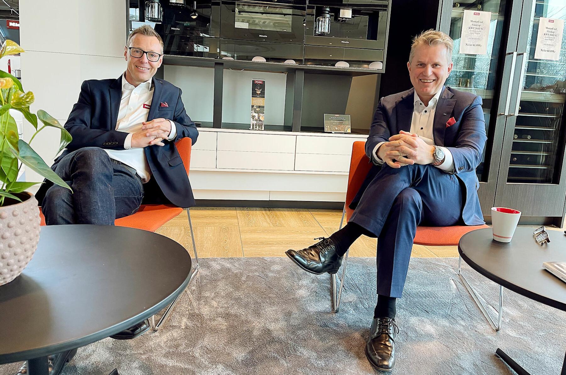 Anders Kjekstad og Espen Tho ved Mieles hovedkontor i Asker. Foto: Stian Sønsteng