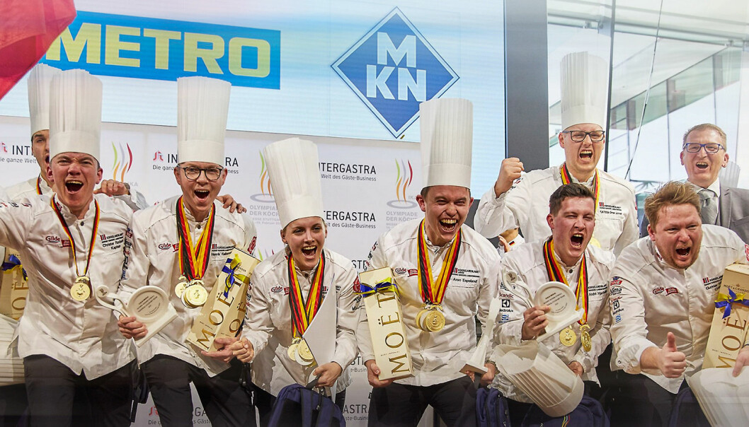 Seniorlandslaget vant en olympisk gullmedalje for sin kokkekunst under IKA Culinary Olympics i Tyskland i februar i fjor. Foto: NKL