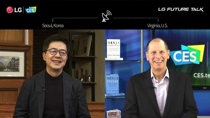 Park Hyoung-sei, administrerende direktør i LG og CES-sjef Gary Shapiro snakket om fremtidens TV-trender under den digitale messen. Foto: LG