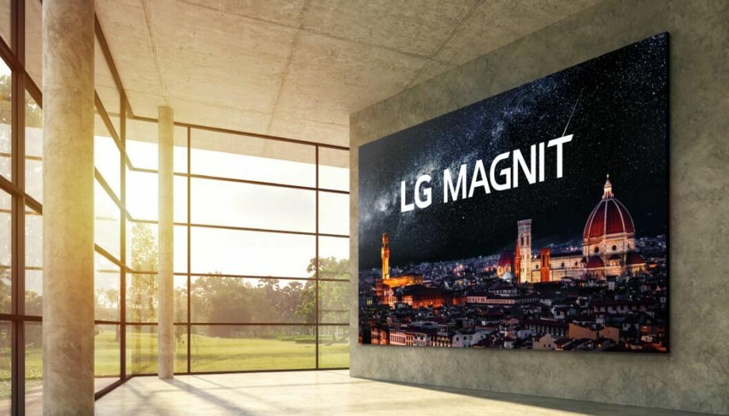 LG Magnit er en moduloppbygd Micro Led-skjerm som kan settes sammen i ulike størrelser helt opp til 163 tommer. Foto: LG