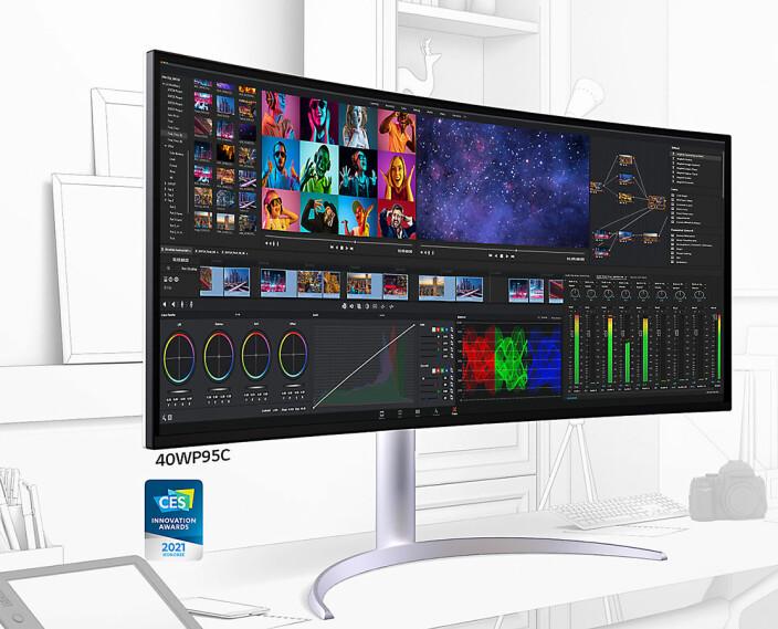 40WP95C Ultra Wide har et 40-tommers buet nano IPS-panel. Foto: LG