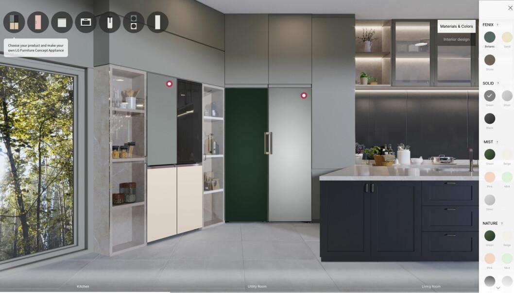 LGs nye «furniture concept appliances» gjør det mulig å tilpasse både farger og materialer på hvitevarene så det matcher resten av interiøret i hjemmet. Foto: LG