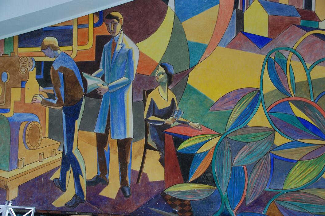 Kunst i kantinen: Utsnitt fra Kai Triers maleri i det som i dag huser Brødrene Grams Historiske Arkiv og Museum. Foto: Henrik Egede