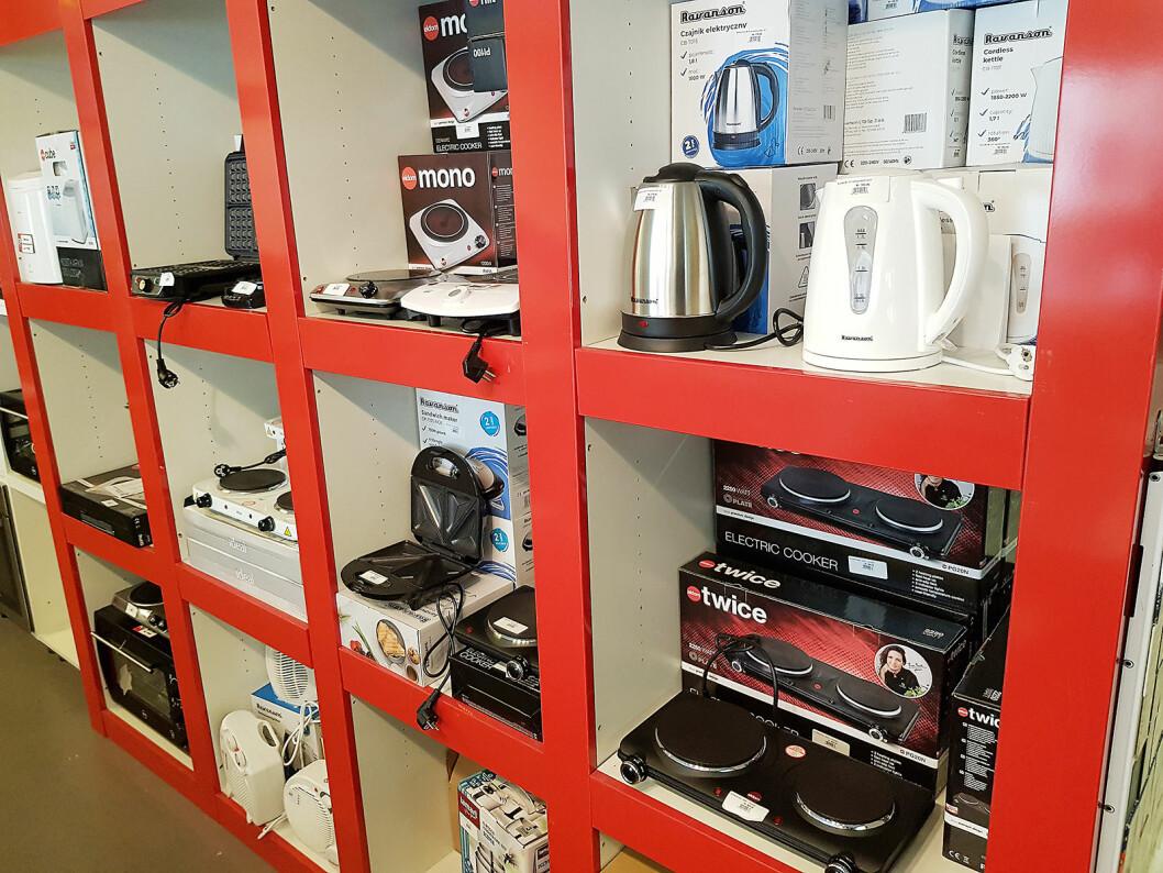 Drammen Hvitevarer tilbyr også småelektriske produkter, disse er helt nye. Foto: Jan Røsholm