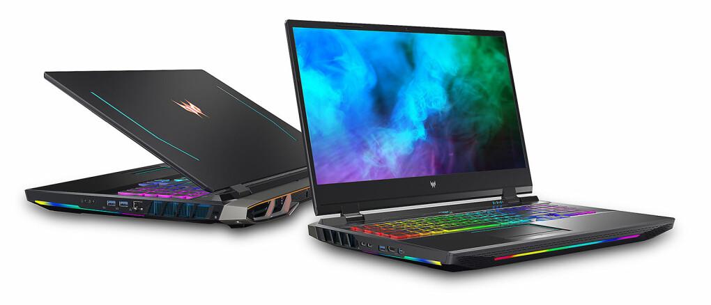 Gamere som vurderer Predator Helios 500 kan velge mellom en FHD 360 Hz skjerm med tre millisekunders responstid, eller et 4K 120 Hz mini-led-panel. Foto: Acer