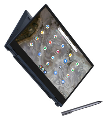 Den nye, konvertible IdeaPad Flex 5i Chromebook veier bare 1,35 kilo, og har et 360 graders hengsel som lar brukeren velge mellom ulike modus basert på sitt behov. Foto: Lenovo